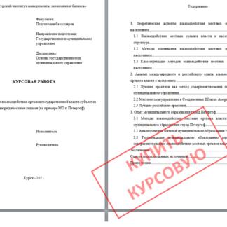 Курсовая МЭБИК Анализ взаимодействия органов государственной власти субъектов РФ с населением и юридическими лицами