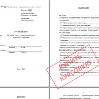 МЭБИК Курсовая работа Системный подход в управлении на примере дошкольного учреждения