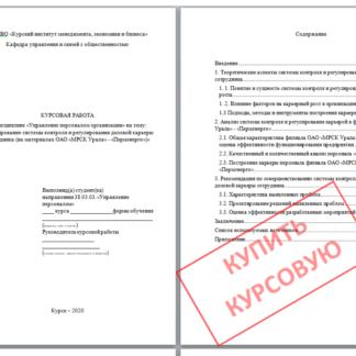 Курсовая работа МЭБИК Формирование системы контроля и регулирования деловой карьеры сотрудника