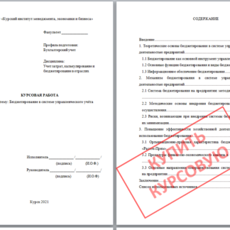 Курсовая работа МЭБИК Учет затрат, калькулирование и бюджетирование в отраслях